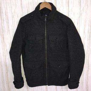 Gap Mens utility jacket Dark Gray Small Wool blend